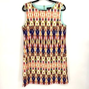 Tahari Scuba Knit Sleeveless Ikat Printed Dress